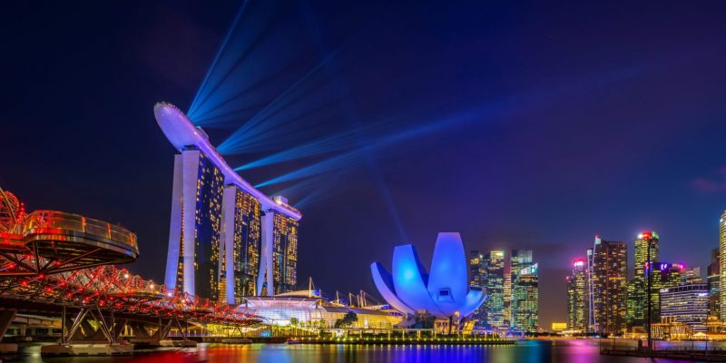 SINGAPORE CITY, SINGAPORE - MARCH 3, 2019: Spectra Light and Wat